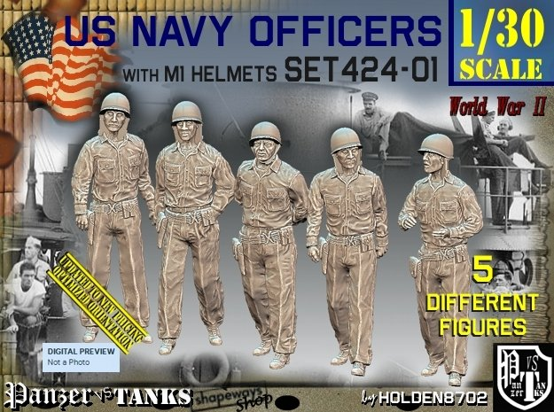 1/30 USN Officers Set424-01 in White Natural Versatile Plastic