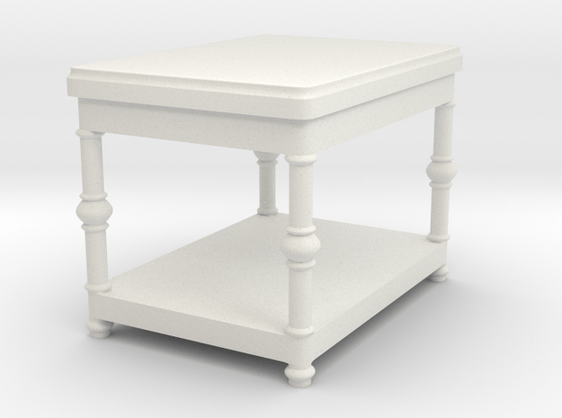 Fancy End Table Tabletop Prop in White Natural Versatile Plastic
