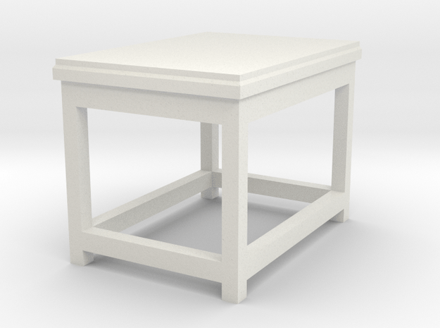 Basic End Table Tabletop Prop in White Natural Versatile Plastic