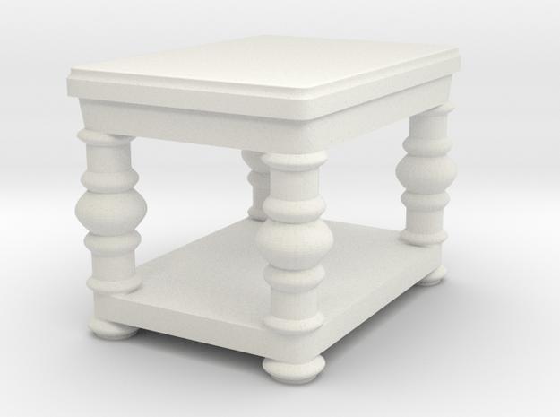 fancy end table v2 in White Natural Versatile Plastic