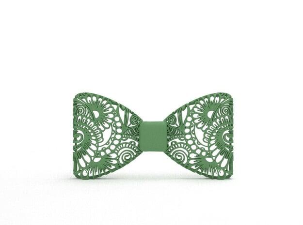 Bowtie Flower Pattern in Green Processed Versatile Plastic
