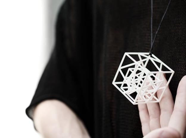Hyper cube pendant in White Natural Versatile Plastic