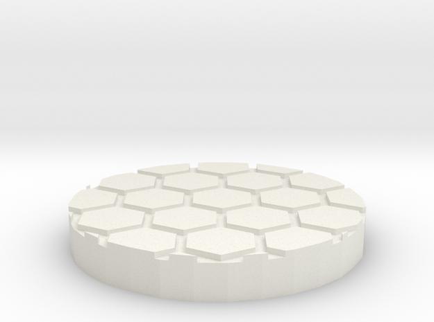 "Honeycomb 1"" Circular Miniature Base Plate in White Natural Versatile Plastic"