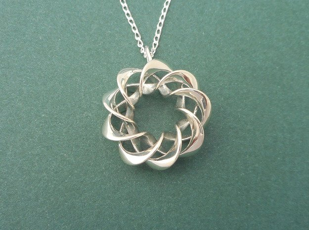 Torus Ribbons - Pendant in Cast Metals in Polished Silver