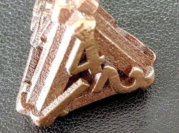 Hollow d4 in Polished Bronze Steel