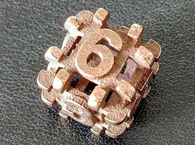 Hollow d6 in Polished Bronze Steel