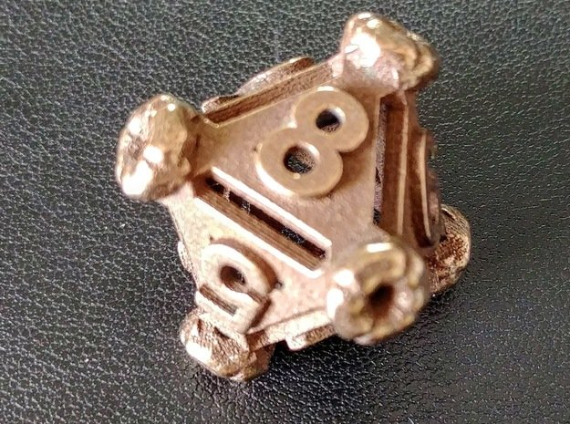 Hollow d8 in Polished Bronze Steel