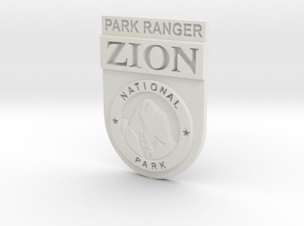 Zion Park Ranger Badge in White Natural Versatile Plastic: Small