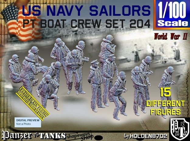 1/100 USN PT Crew set 204 in Smooth Fine Detail Plastic