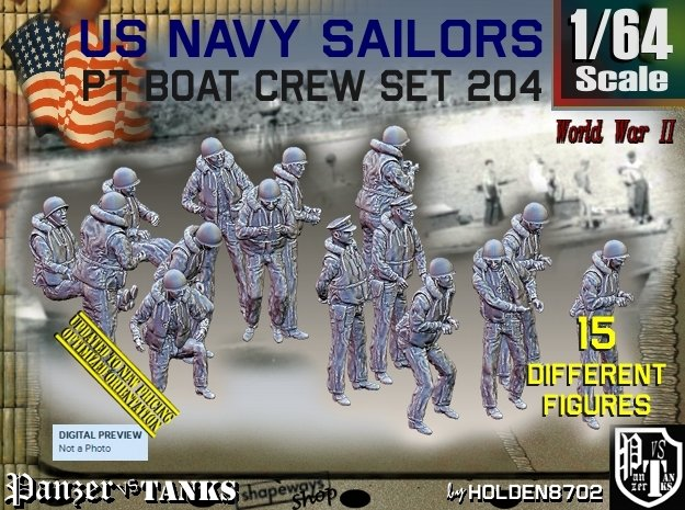 1/64 USN PT Crew set 204 in Smooth Fine Detail Plastic