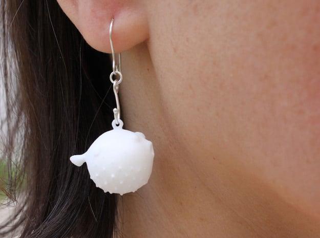 Blowfish Earrings  in White Natural Versatile Plastic