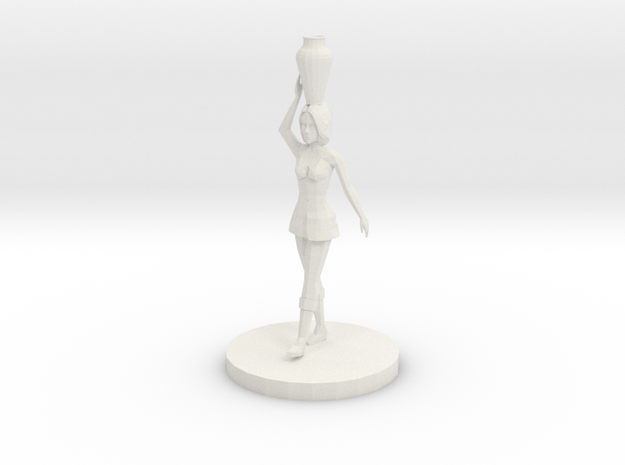 Woman with Vase on Her Head (28mm Scale Miniature) in White Natural Versatile Plastic
