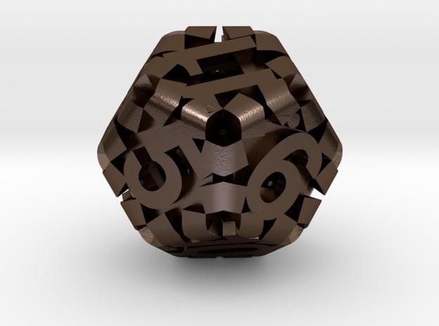 Hollow d12 in Polished Bronze Steel: Medium