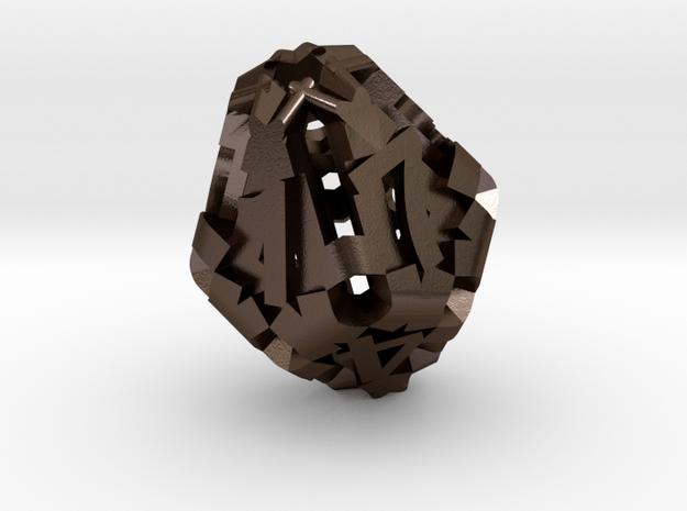 Hollow d10 in Polished Bronze Steel: Medium