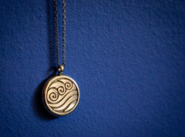 Water Emblem Necklace from Avatar: The Last Airben in Polished Silver