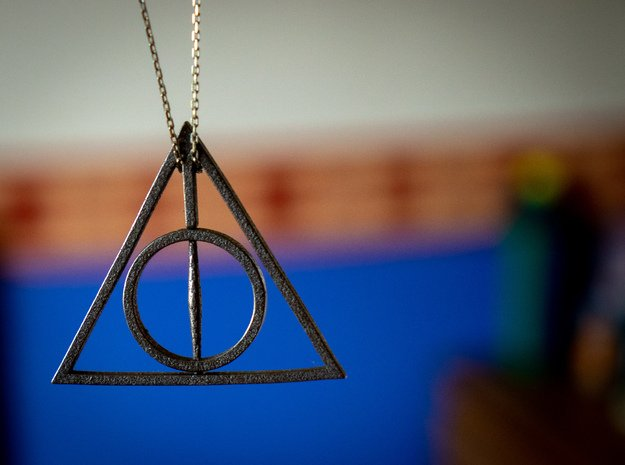 Deathly Hallows Rotating Pendant in Polished Bronzed Silver Steel