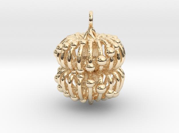 Double Torus Electromagnetic Field Pendant in 14k Gold Plated Brass: Medium