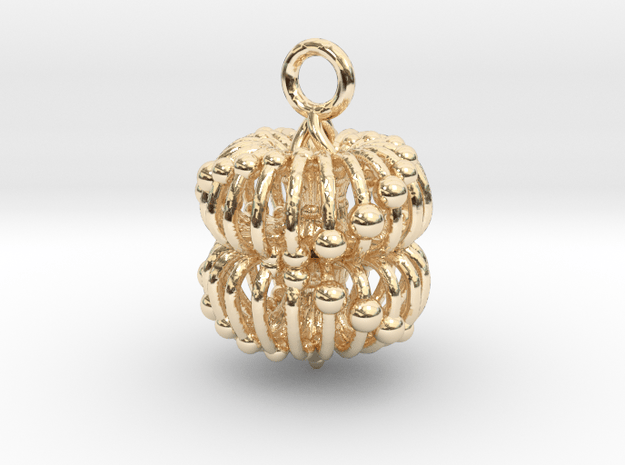 Double Torus Electromagnetic Field 23mm Pendant bi in 14k Gold Plated Brass: Small