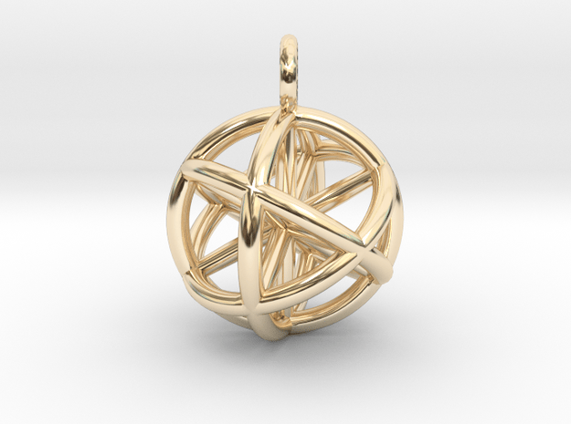 Vector Equilibrium Sphere 20mm- with 6 axis in 14k Gold Plated Brass