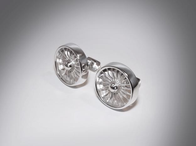 Turbine Cufflinks Model 2 in Polished Silver