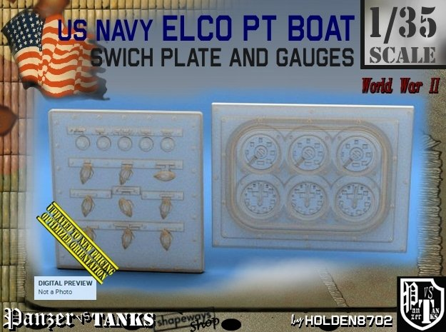 1/35 PT Boat Swich Plate and Gauges in Smoothest Fine Detail Plastic