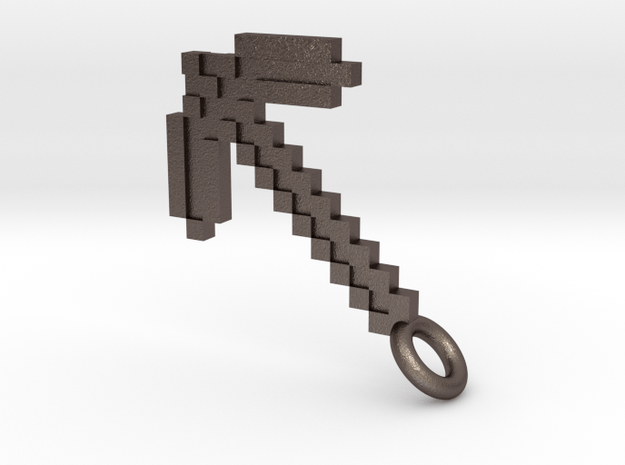 Minecraft Pickaxe Pendant in Polished Bronzed-Silver Steel
