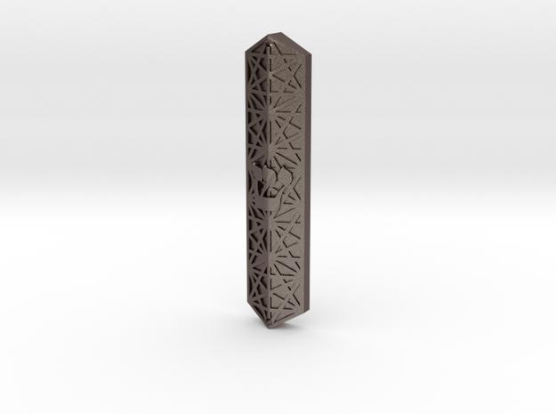 Hexagonal Mezuzah in Polished Bronzed-Silver Steel