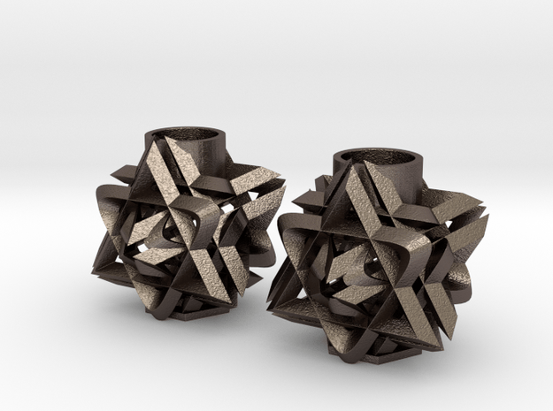 3D Star Candle Holders in Polished Bronzed-Silver Steel