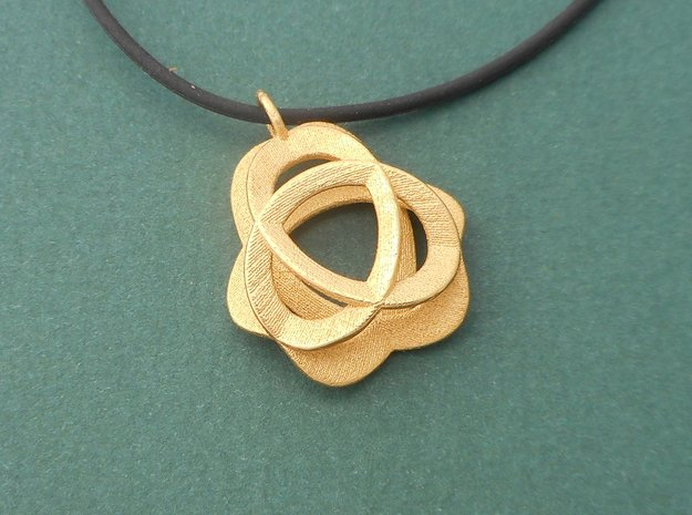 Triquetra Pendant in Polished Steel in Polished Gold Steel