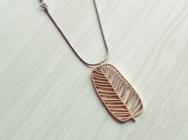 Leaf Pendant in Natural Brass