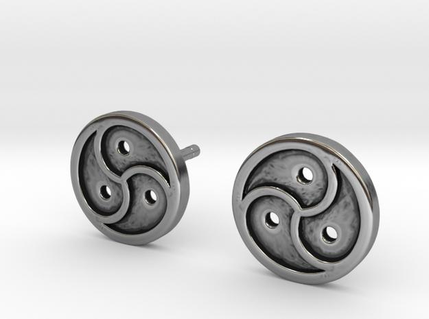 Triskele Earrings in Antique Silver