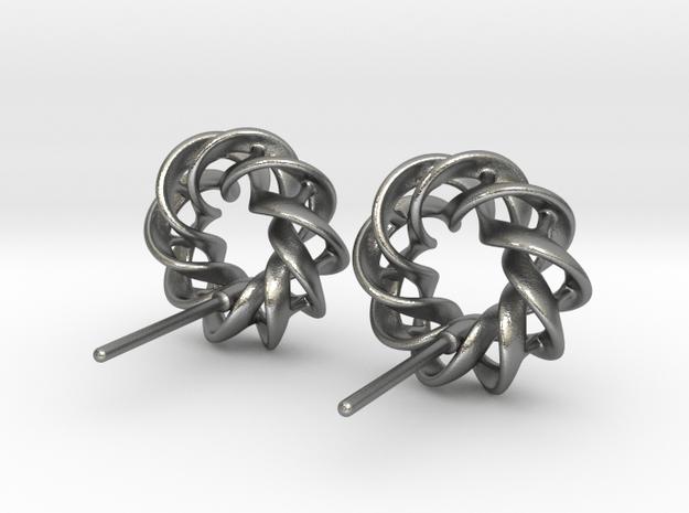 Torus Ribbon Stud Earrings in Cast Metals in Natural Silver
