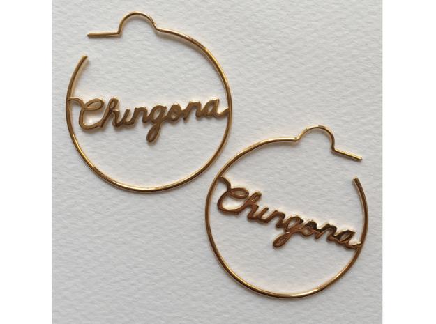 Chingona Hoop Earrings in 14k Gold Plated Brass