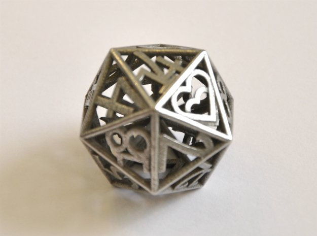 D20 Balanced - Numbers Only Heart Crit in Polished Bronzed-Silver Steel