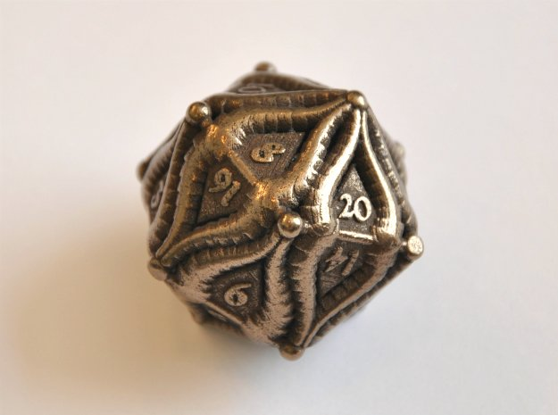 D20 Balanced - Two Horned Tiefling in Polished Bronze Steel