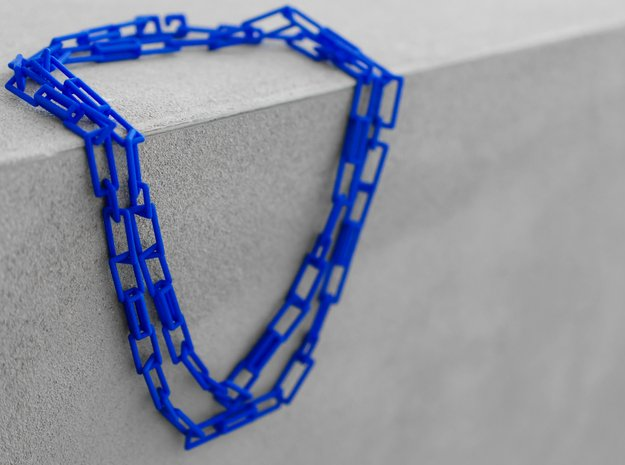 Long geometric versatile necklace, belt, bracelet in Blue Processed Versatile Plastic