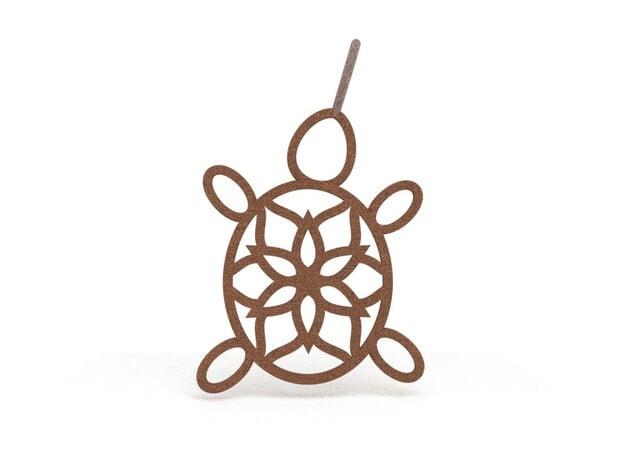 Turtle Mandala Pendant in Natural Bronze