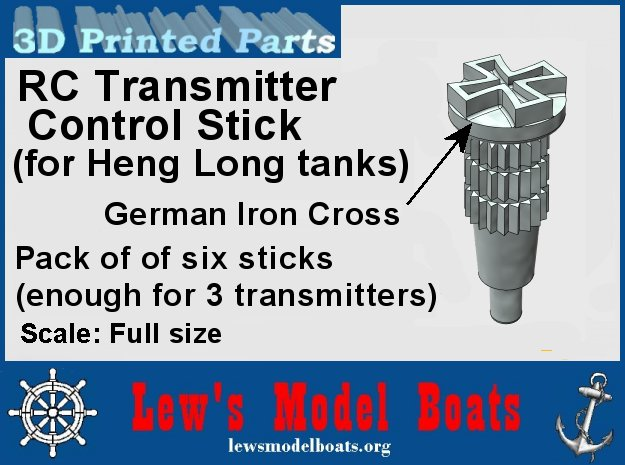 "Heng Long tank transmitter stick ""Germany""  in White Natural Versatile Plastic"