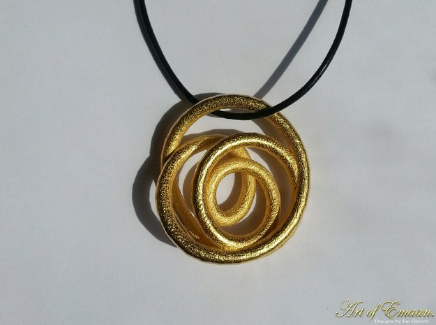 Spiral Knot Pendant. in Polished Gold Steel