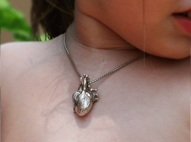 Anatomical Heart Pendant in Polished Bronzed Silver Steel