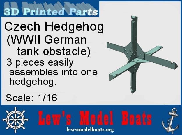 Czech Hedgehog (WWII German tank barrier) in White Natural Versatile Plastic: 1:16