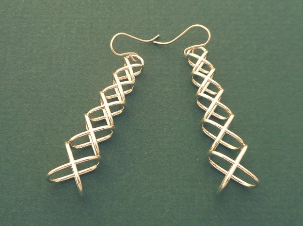 XOXO Tower - Pair of Metal Earrings in Polished Silver