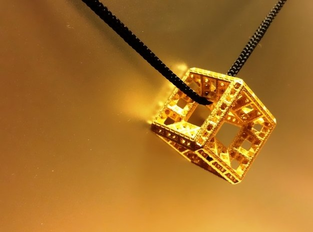 Fractal Hypercube Pendant in Polished Gold Steel