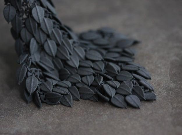 Leafy Fabric Piece in Black Natural Versatile Plastic