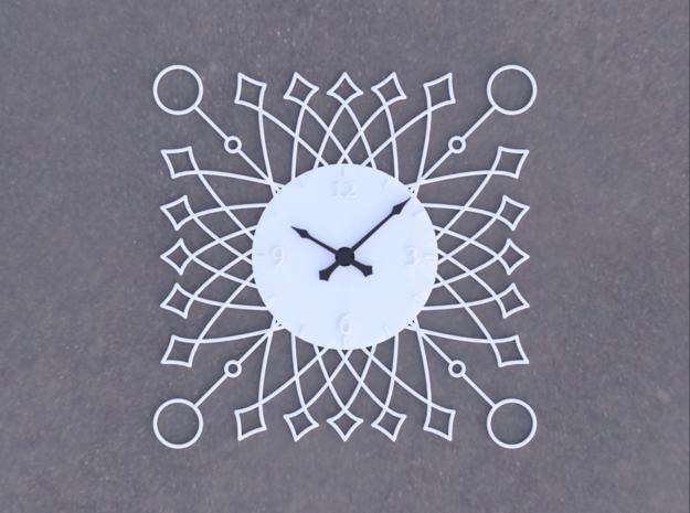 Sunburst Clock - Buttercup in White Natural Versatile Plastic