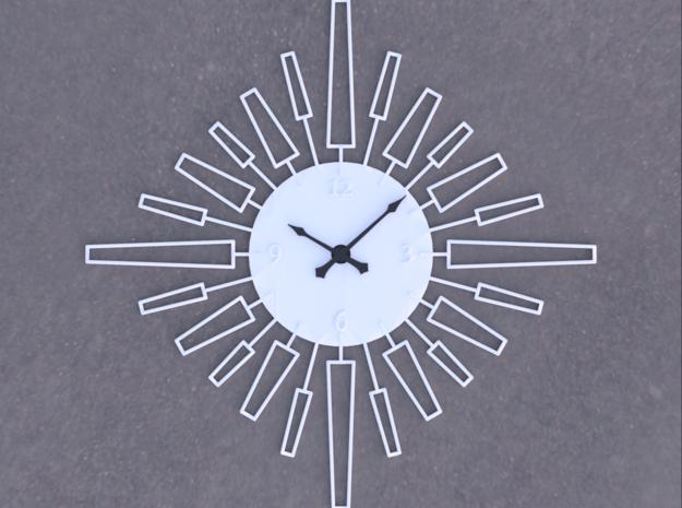 Sunburst Clock - Velma in White Natural Versatile Plastic