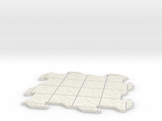 Large Multi Way Dungeon Tile in White Natural Versatile Plastic