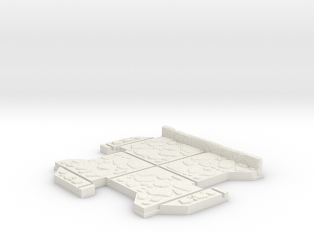 Small 3 way Dungeon Tile in White Natural Versatile Plastic