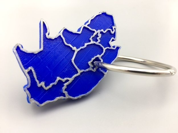 South Africa Keychain in Blue Processed Versatile Plastic