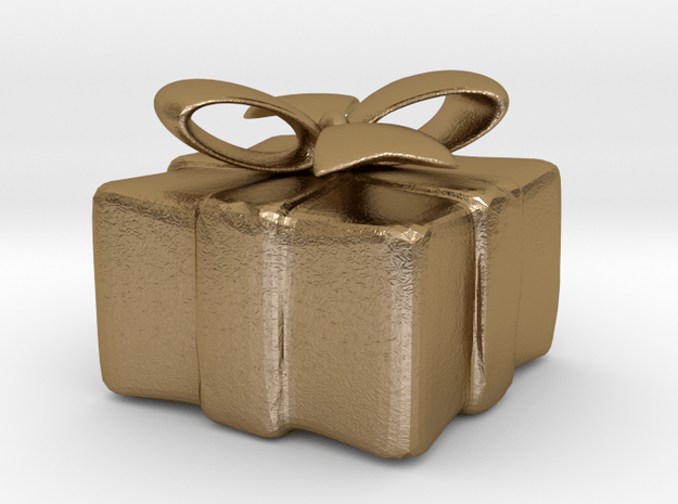 Gift Box Pendant in Polished Gold Steel